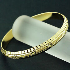 FS616 GENUINE REAL18K YELLOW G/F GOLD ANTIQUE DIAMOND CUT DESIGN SOLID BANGLE