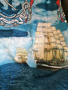 2 x Pairs of Curtains/Tiebacks, New and Sealed 66x72inches, Nautical