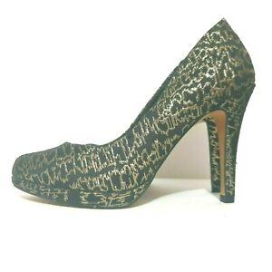 Marks & Spencer Shoes Sz 5.5 Black Gold Print High Heels Pumps M&S Collection