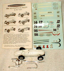 Indy Racer 6 in 1 Kit by Strombecker Slot Car 1960 Original Info Sheet DecalsNOS