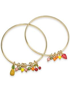 INC INTERNATIONAL CONCEPT gold tone twin fruit and bead bracelet NEW w/TAG