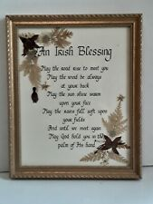 """An Irish Blessing Framed Under Glass Wall Art Real Leaves Affixed 12"""" x 9"""""""