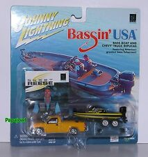 Johnny Lightning Bassin' USA Skeet Reese Bass Boat with Chevrolet Pickup 1:64