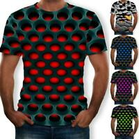 Funny Hypnosis 3D T-Shirt Men Women Colorful Print Short Casual Sleeve Tops A9R0