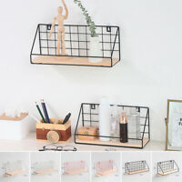 Iron Wall Storage Shelf Retro Wood Industrial Style Kitchen Hanging Rack Home