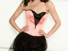 Charas Prom UK 8  Orange & Black boned corset boutique mini short dress