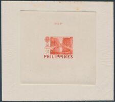 PHILS #582P RED ORANGE DIE PROOF ON INDIA ON CARD W/ CONTROL NO. BS3522