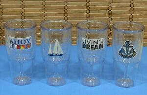 Set of 4 Tervis Tumbler 16 oz Wine Goblets Nautical Theme Large Capacity B51