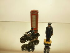 DINKY TOYS PHONE BOX + FIGURE + MOTOR CYCLE - FAIR CONDITION