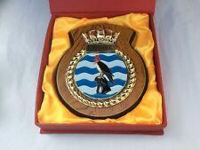 More details for vintage royal navy presentation plaque, crest badge - hms seahawk