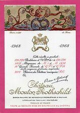 PAUILLAC 1EGCC ETIQUETTE CHATEAU MOUTON ROTHSCHILD 1968 75 CL DECOREE §27/04/17§