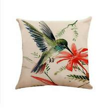 """Decorative Green Bird Cushion Cover Vintage Shabby Chic Pillow Linen18""""  Gift"""