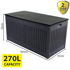 270L GREY GARDEN STORAGE BOX OUTDOOR PLASTIC UTILITY CABINET SHED CHEST CUSHION