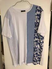 ZARA MEN'S ABSTRACT BLUE WHITE BLACK PALM TREE PRINT T-SHIRT SIZE XL