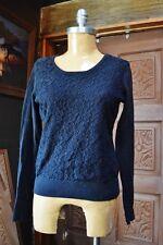 VAN HUESEN Womens Black Round Neck Long Sleeve Lace Trim Knit Sweater Size M