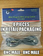 Lot of 4 - 3ft BNC Male to BNC Male RG59/U 75 Ohm Coax Cables In Retail Package