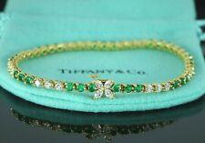 $17500 Rare Tiffany Co Victoria 18K Gold Green Emerald Marquise Diamond Bracelet