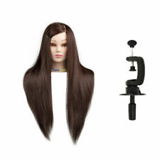 UK Salon Real Human Hair Training Head Hairdressing Styling Mannequin Doll+Clamp