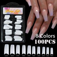 100Pcs/pack False Nail Tips Fake Nails Manicure UV Gel Acrylic DIY French Nails