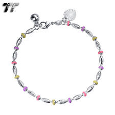 TTstyle 18K White Gold Filled Colorful Bead Bracelet CBF29