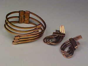 Vintage Signed Renoir Hinged Cuff Bracelet & Earrings Set