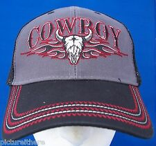 Cowboy Baseball Cap Hat Steer Skull Flame Gray Black Mesh Back Country Western