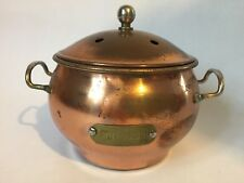 Vintage Copper Plated Metal Potpourri Pot with Vented Lid Brass Handles