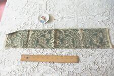 "Green Antique Italian c1600s Silk Metallic Velvet Linen Sample Fabric~5""X2.5"""