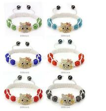 YELLOW  Beads Hello kitty Bangles Crystal Shamballa Bracelet for kids/adults