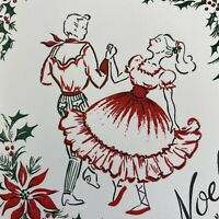 Vintage Mid Century Christmas Greeting Card Square Dancing Couple Pretty Dress