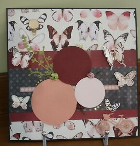 """Handmade Premade Scrapbook Page Layout ~ BUTTERFLIES & BICYCLES ~ 12"""" x 12"""""""