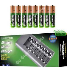 Lloytron 8 Slot Charger + 8 x Duracell AA 2450 mAh Rechargeable NiMH Batteries