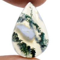 Cts. 11.80 Natural Landscape Moss Agate Cabochon Pear Cab Loose Gemstone