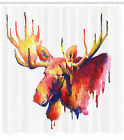 Moose Shower Curtain Psychedelic Watercolors Print for Bathroom 70 Inches Long
