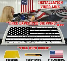 BLACK & WHITE DISTRESSED AMERICAN FLAG PICKUP TRUCK REAR WINDOW DECAL TINT