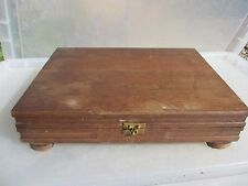 Vintage Wooden Cutlery Tray Canteen Box Brass Handles Antique Storage Old Hinges