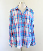 J Crew Plaid Guaze Popover Shirt Size M Blue Pink Long Sleeve Blouse Top C3545