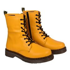Yellow Womens Ankle Boots Retro Lace Up Leather And Non-Leather