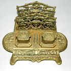 Large Brass Ornate Vintage Pencil Holder Double Inkwell  Very Rare!