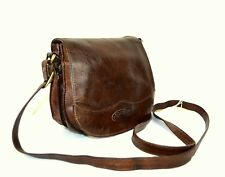 Vintage BOSBOOM Brown Distressed Leather Cross Body Shoulder Saddle Satchel Bag
