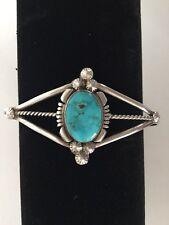Vintage Native American Southwestern Sterling Silver Turquoise Cuff Bracelet