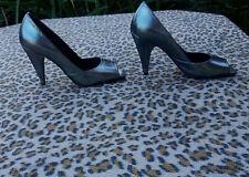 Kurt Geiger silver metallic high heeled peep toe shoes UK 4 EU 37