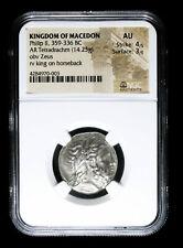 359 - 336 BC KINGDOM OF MACEDON PHILIP II TETRADRACHM ANCIENT COIN ZEUS KING ...