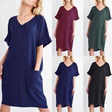 ZANZEA 8-24 Women Basic V Neck Cotton Sundress Office Work Plus Size Midi Dress