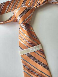 MICHAEL KORS Mens Necktie NEW 100% Silk Tie Orange Blue White Stripe 3.5 x 58