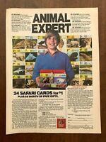 1984 Safari Cards Vintage Print Ad/Poster 80s Kids Wildlife Pop Art Decor