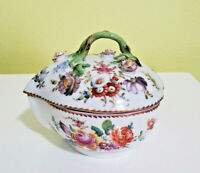 DRESDEN TX THIEME Mark TRINKET BOX FLOWER DESIGN PORCELAIN 1888-1901