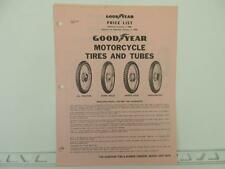 Vintage 1968 Goodyear Motorcycle Tire Price List Harley Triumph Norton L1198