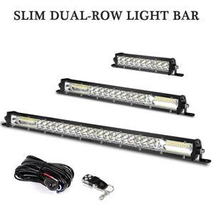 "20"" 13"" 7"" Slim Dual Row LED Work Light Bar Spot Flood Combo Off-Road Wiring Kit"