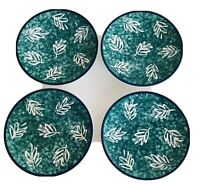 Set of 4 Mikasa Fashion Plate Leaf Song Salad Plates  DX105 Green Leaves 1995-99